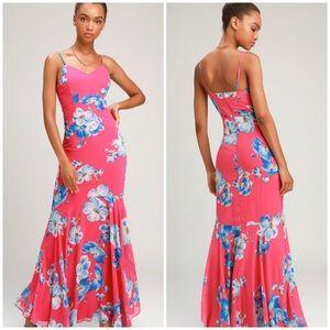 Lulu's Wandering Magenta Floral Print Maxi Dress